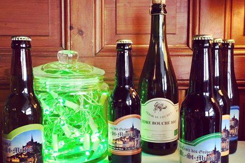 Boissons locales : bière du Mont St Michel et cidre fermier de Normandie