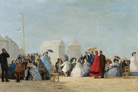 Sur la plage à Trouville d'Eugène Boudin (1863) - Musée Eugène Boudin à Honfleur